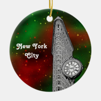 NYC Flatiron Building Red Grn Starry Xmas Round Ceramic Ornament