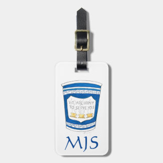 NYC Greek Diner Coffee Cup Monogram Luggage Tag