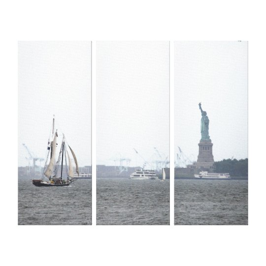 NYC Harbour and Lady Liberty in Fog Triptych Canvas Print