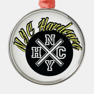 NYC Hardcore Silver-Colored Round Ornament