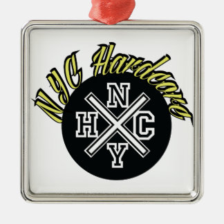 NYC Hardcore Silver-Colored Square Ornament