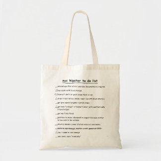 NYC Hipster To Do List Tote Bag