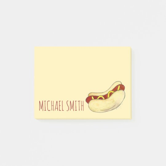 NYC Hot Dog w/ Mustard Personalized Post Its Post-it® Notes