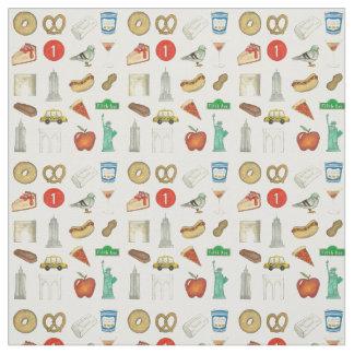 NYC Icons New York City Landmark Food Taxi Apple Fabric
