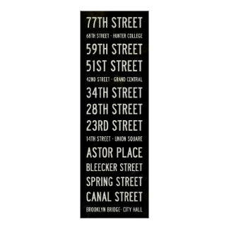 NYC IRT Lexington Avenue Subway Scroll Poster