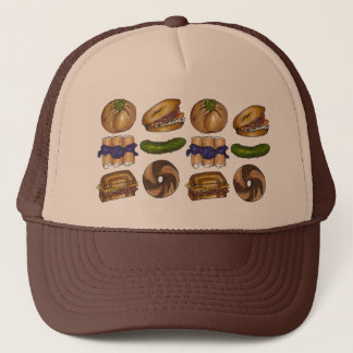 NYC Jewish Deli Bagel Knish Blintz Reuben Pickle Trucker Hat
