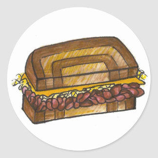 NYC Jewish Deli Reuben Corned Beef Sandwich Foodie Classic Round Sticker