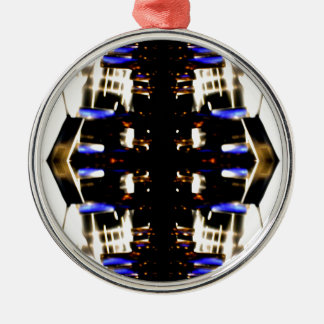 NYC Landmarks Purple Light Groove Futurism Silver-Colored Round Ornament