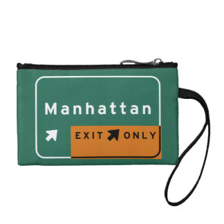NYC Manhattan Exit Interstate Highway Freeway Road Coin Purses