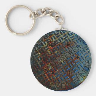 NYC Manhole Cover Basic Round Button Keychain