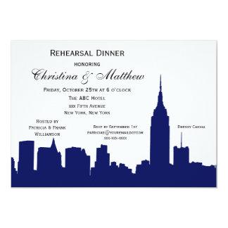 "NYC Navy Blue Skyline Silhouette Rehearsal Dinner 5"" X 7"" Invitation Card"