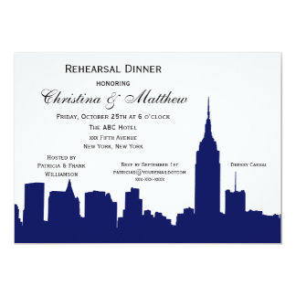 NYC Navy Blue Skyline Silhouette Rehearsal Dinner 5x7 Paper Invitation Card