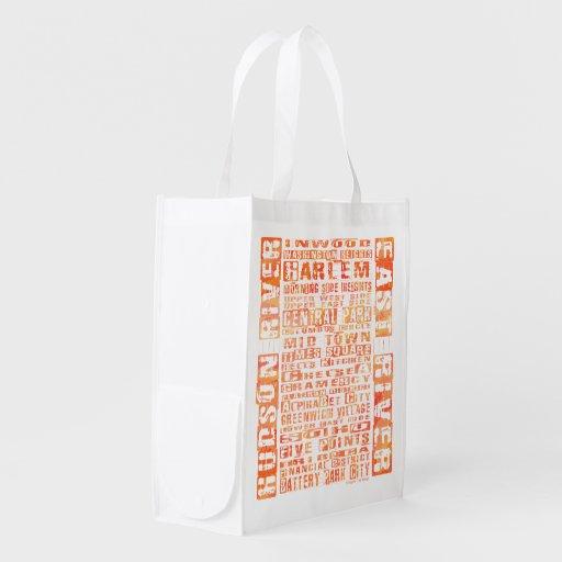 NYC Neighborhoods Orange Grocery Bag