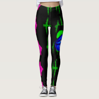 nyc neon blue lips spray pant design for leggings