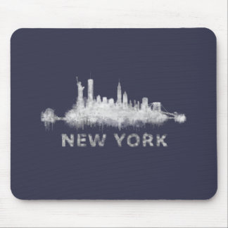 NYC New York black-White Skyline cityscape v01 Mouse Pad