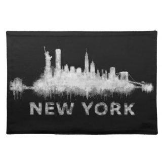 NYC New York black-White Skyline cityscape v01 Placemat