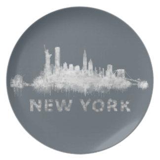 NYC New York black-White Skyline cityscape v01 Plate