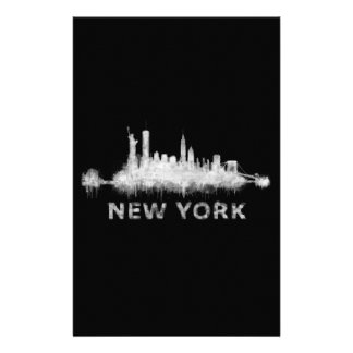 NYC New York black-White Skyline cityscape v01 Stationery