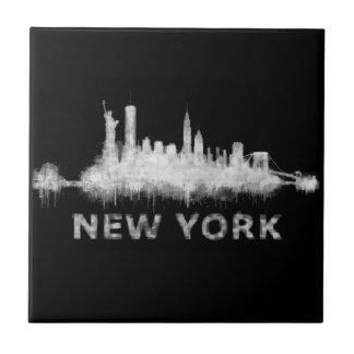 NYC New York black-White Skyline cityscape v01 Tile
