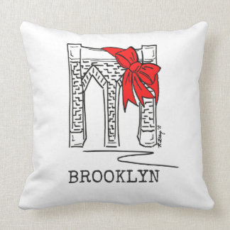NYC New York City Brooklyn Bridge Christmas Pillow