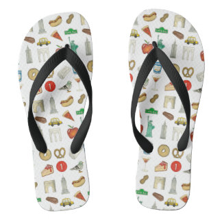 NYC New York City Icons Landmarks Tourist Travel Flip Flops
