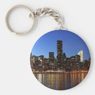 NYC New York City Manhattan Night Basic Round Button Keychain