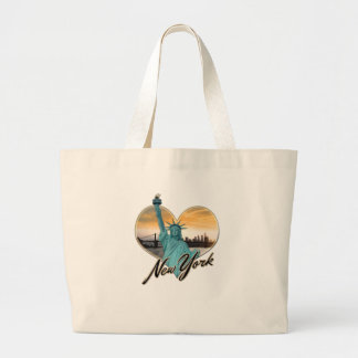 NYC New York City Skyline Souvenir Lady Liberty Large Tote Bag