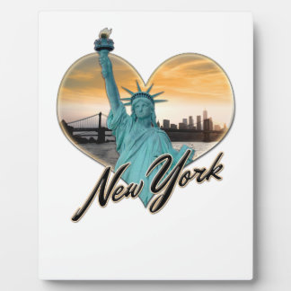NYC New York City Skyline Souvenir Lady Liberty Plaque