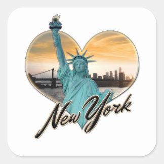 NYC New York City Skyline Souvenir Lady Liberty Square Sticker