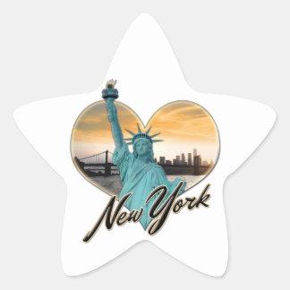 NYC New York City Skyline Souvenir Lady Liberty Star Sticker