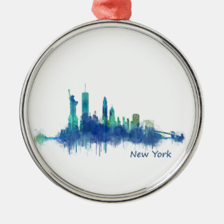 NYC New York Skyline v5 Silver-Colored Round Ornament