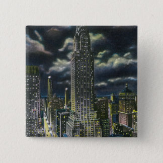 NYC, New YorkChrysler Building at Night # 1 2 Inch Square Button
