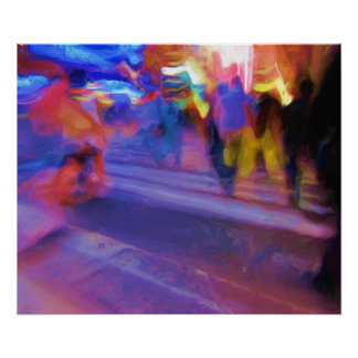 NYC Night Abstract Poster