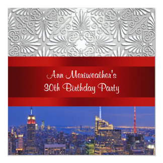 NYC Night Skylie Silver Damask Birthday Party Invitations