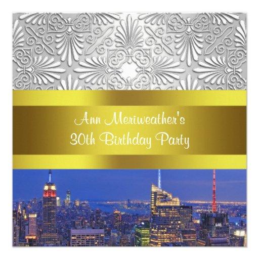 NYC Night Skylie Silver Damask Birthday Party Custom Invitations
