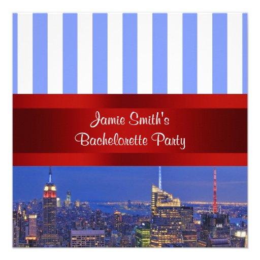 NYC Night Skyline Blue White Stripe Bachelorette Custom Announcements