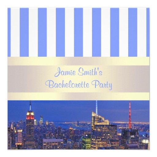 NYC Night Skyline Blue White Stripe Bachelorette Personalized Invitations