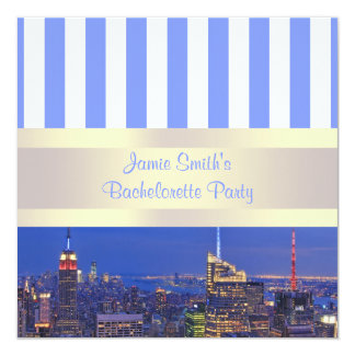 NYC Night Skyline Blue White Stripe Bachelorette Personalized Invitations