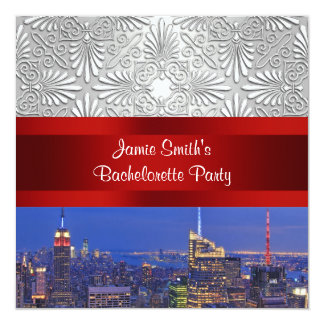 "NYC Night Skyline Silver Damask Bachelorette 5.25"" Square Invitation Card"
