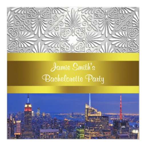 NYC Night Skyline Silver Damask Bachelorette Personalized Announcements