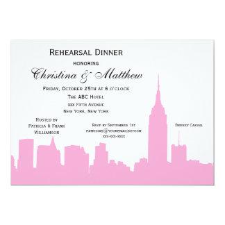 "NYC Pink Skyline Silhouette Rehearsal Dinner 5"" X 7"" Invitation Card"
