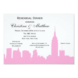 NYC Pink Skyline Silhouette Rehearsal Dinner 5x7 Paper Invitation Card