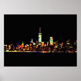 NYC Poster New York City Lights Luminous Night