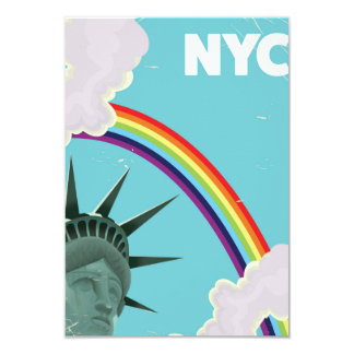 "NYC Rainbow vintage style travel poster 3.5"" X 5"" Invitation Card"