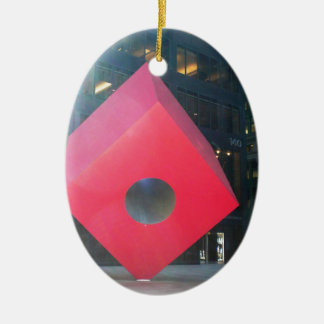 NYC Red Cube Ceramic Oval Ornament