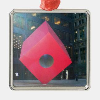 NYC Red Cube Silver-Colored Square Ornament