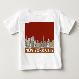 NYC red text orange T Shirts