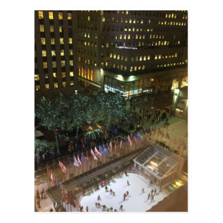 NYC Rockefeller Center Christmas Ice Skating Rink Postcard