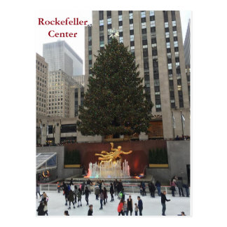 NYC Rockefeller Center Skaters Christmas Postcard