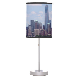 NYC Scape with Freedom Tower and Statue of Liberty Table Lamp